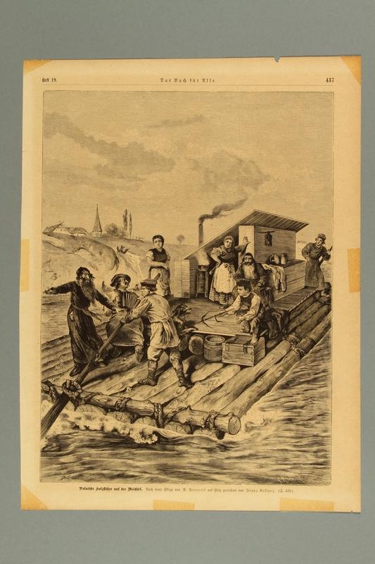 2016.184.453 front Illustration depicting Jewish travelers on a log raft