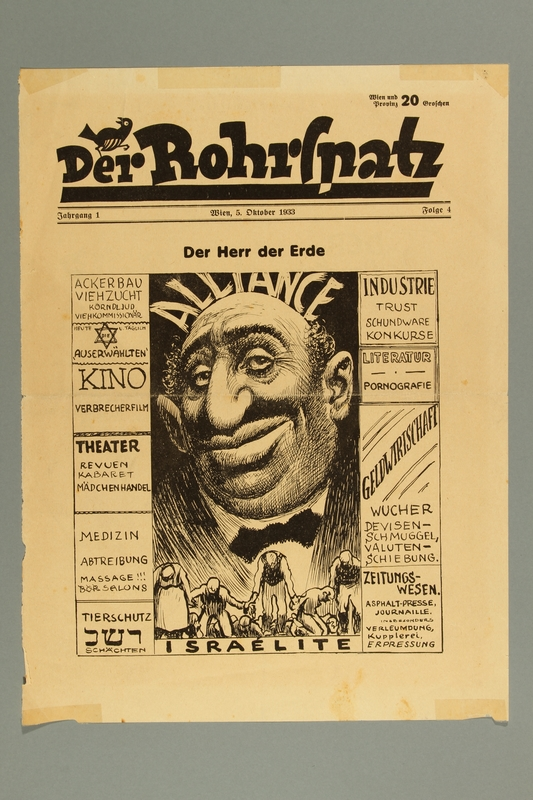 2016.184.454 front Cover of a newsweekly satirizing a Jewish man as Lord of the Earth