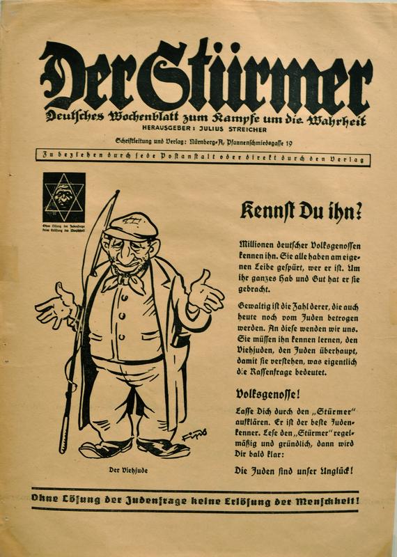 Advertisment for Der Sturmer, the vicious anti-Jewish newspaper