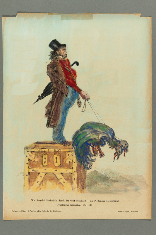 2016.184.456 front Handcolored reprint of a caricature of a Jewish man with leashed vultures