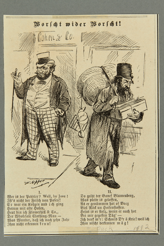 2016.184.458 front 19th century US cartoon contrasting a rich Jewish shop owner and a peddler