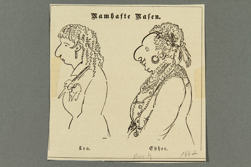 2016.184.459 front 19th century US caricature contrasting the noses of two Jewish women