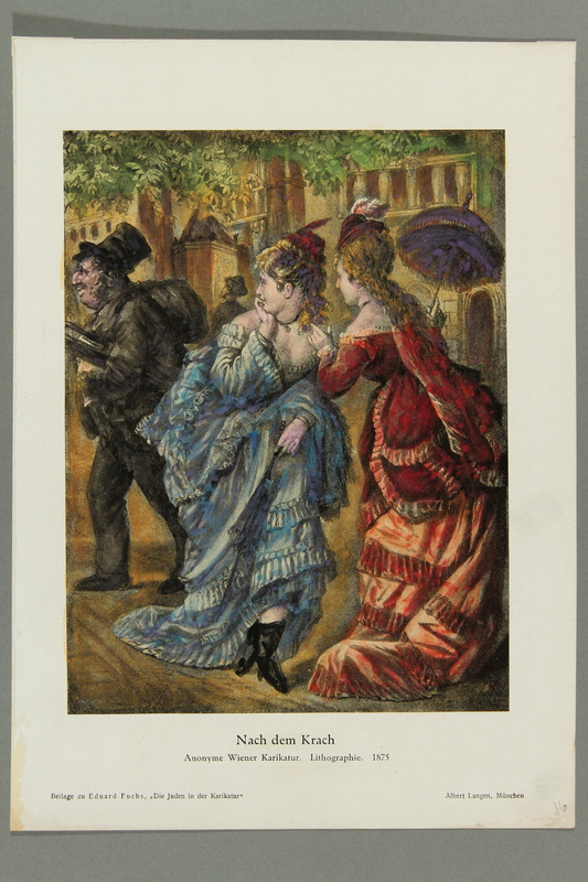 2016.184.460 front Color print of two blond haired women gossiping about a Jewish man in peddler garb