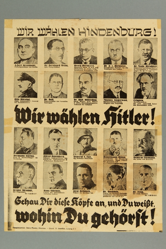 2016.184.461 front Nazi Party poster for the 1932 presidential election: Hitler v. Hindenburg