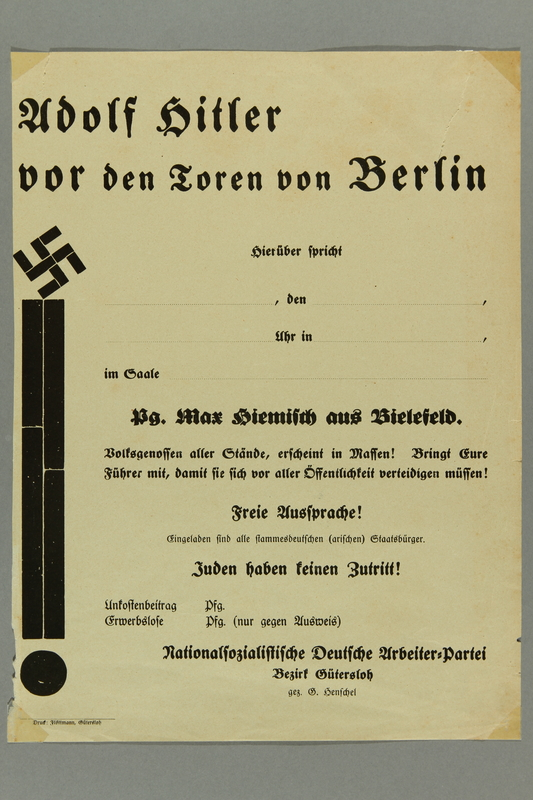 2016.184.462 front Handbill for a local Nazi Party meeting, no Jews allowed
