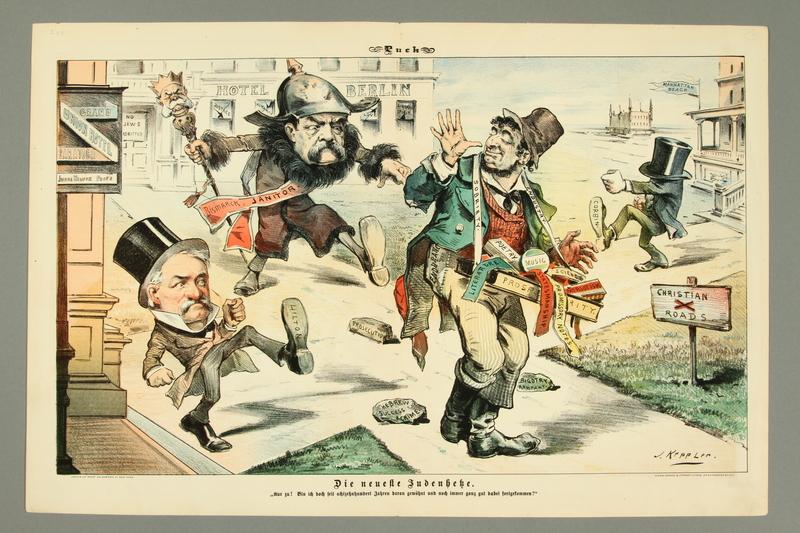 2016.184.463 front Caricature of Bismarck and Hilton kicking a Jewish peddler