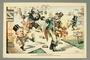 Caricature of Bismarck and Hilton kicking a Jewish peddler
