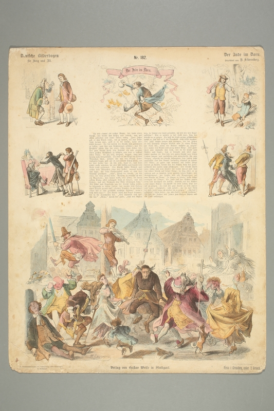 2016.184.464 front Color engraving of an antisemitic fairy tale about tormenting a Jew