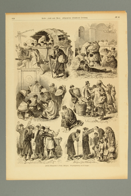 2016.184.465 front 19th century illustration depicting scenes of Jewish refugees waiting to immigrate