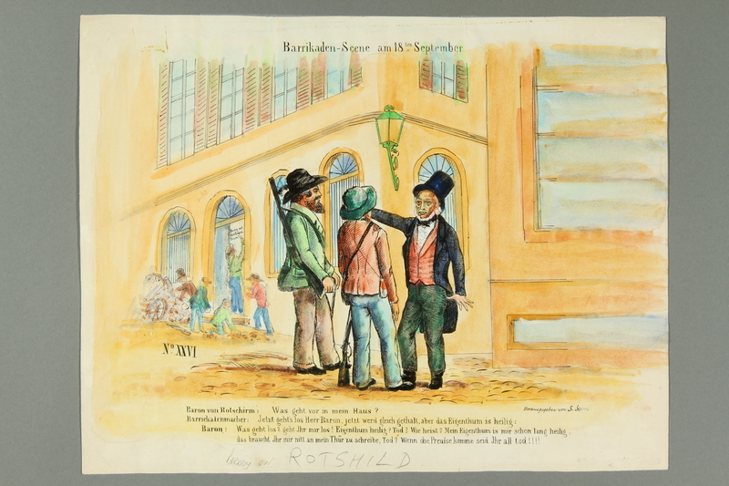 2016.184.467 front Color print with a parody of Baron Rothschild during the Franco-Prussian War