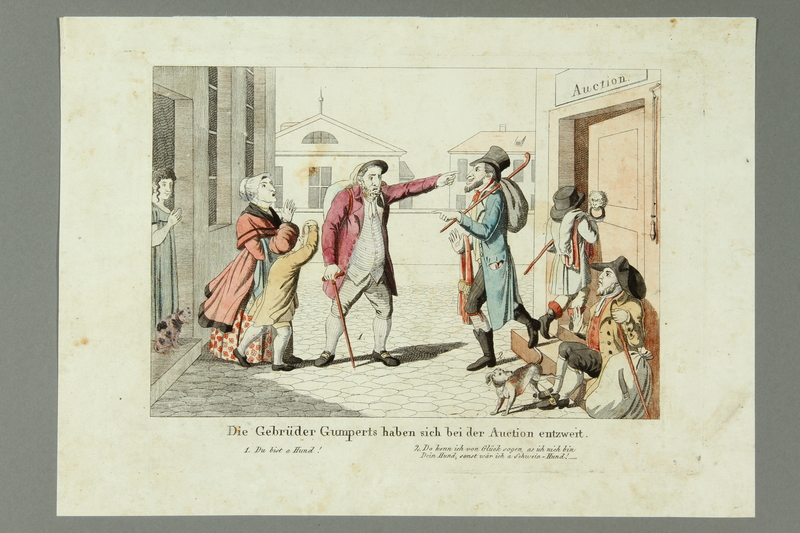 2016.184.469 front Color print of two Jewish brothers and peddlers arguing in the street
