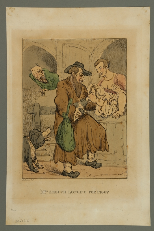 2016.184.474 front Rowlandson etching of a woman kissing a pig held by a Jewish man