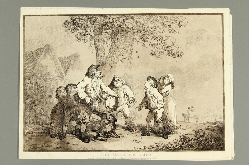 2016.184.479 front Rowlandson etching of children laughing at a Jewish man for being greedy