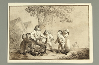 2016.184.479 front Rowlandson etching of children laughing at a Jewish man for being greedy  Click to enlarge