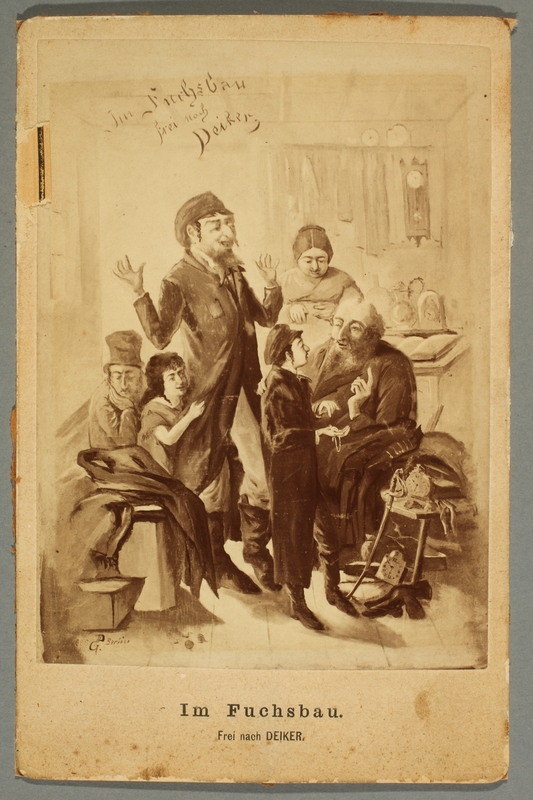 2016.184.487 front Postcard with image of a grandfather questioning a young boy