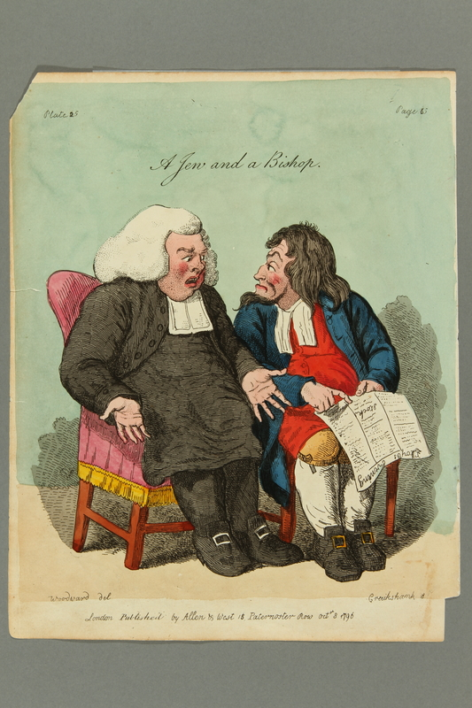 2016.184.491 front Cruikshank etching of a Bishop with a Jewish man checking the stock market