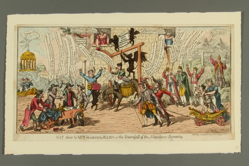 2016.184.492 front Cartoon of people jeering at Napoleon as jester being taken to Elba