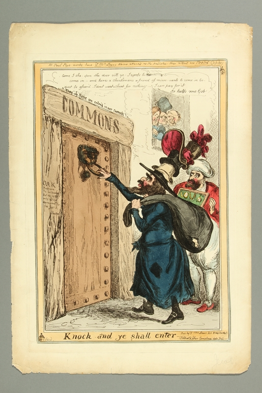 2016.184.494 front Print ridiculing a Jewish rag dealer and a Sephardic Jew trying to enter Parliament