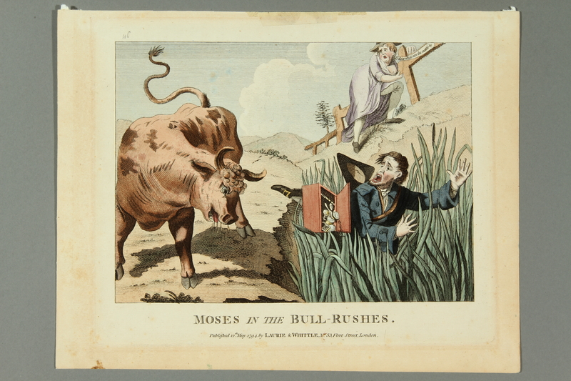 2016.184.496 front Parody of a bull chasing a Jewish man named Moses into the rushes