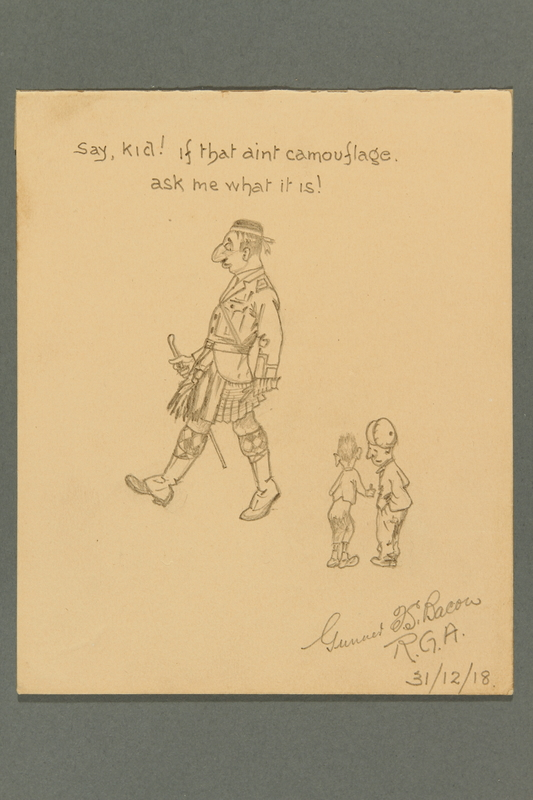 2016.184.497 front Sketch poking fun at a big nosed Jewish soldier in a kilt