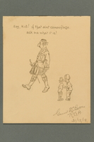2016.184.497 front Sketch poking fun at a big nosed Jewish soldier in a kilt  Click to enlarge