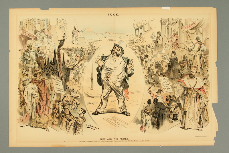 2016.184.500 front Cartoon of a Jewish businessman in NYC amid historic scenes of Jewish persecution