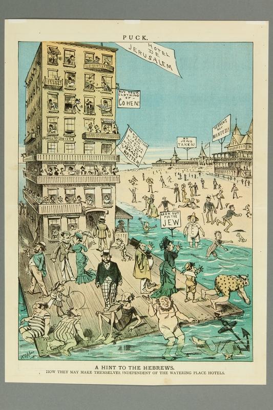 2016.184.502 front Cartoon of Jews enjoying a seaside vacation despite Jews not wanted hotels