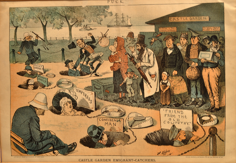 Cartoon of emigrants and potential pitfalls with baggage swindlers and con men