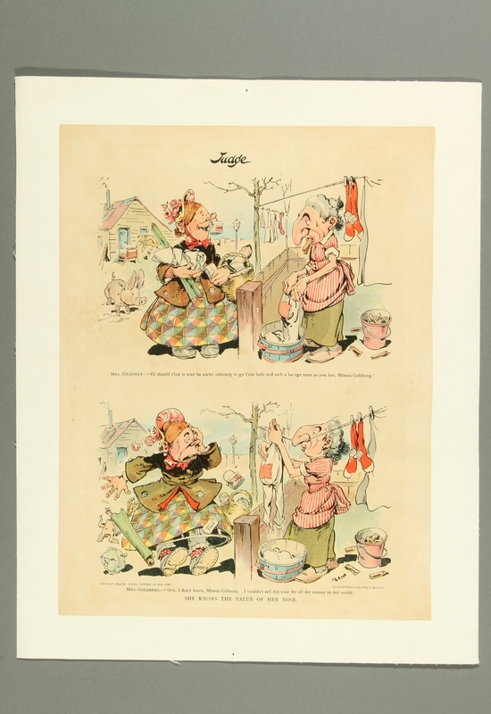2016.184.506 front Cartoon of a Jewish woman using her exaggeratedly long nose to hold her clothesline