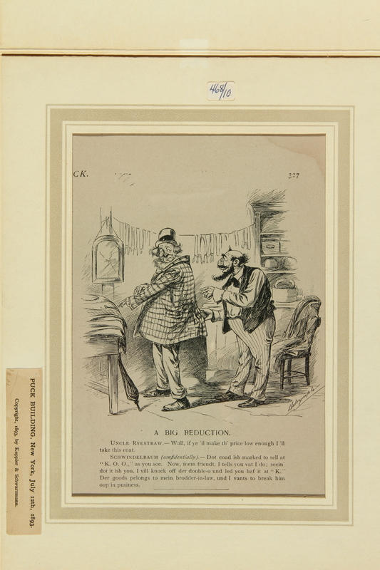 Antisemitic Cartoon Of A Jewish Tailor Making A Bad Deal For His