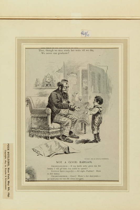 2016.184.517 front Antisemitic cartoon of a Jewish father tricking his young son