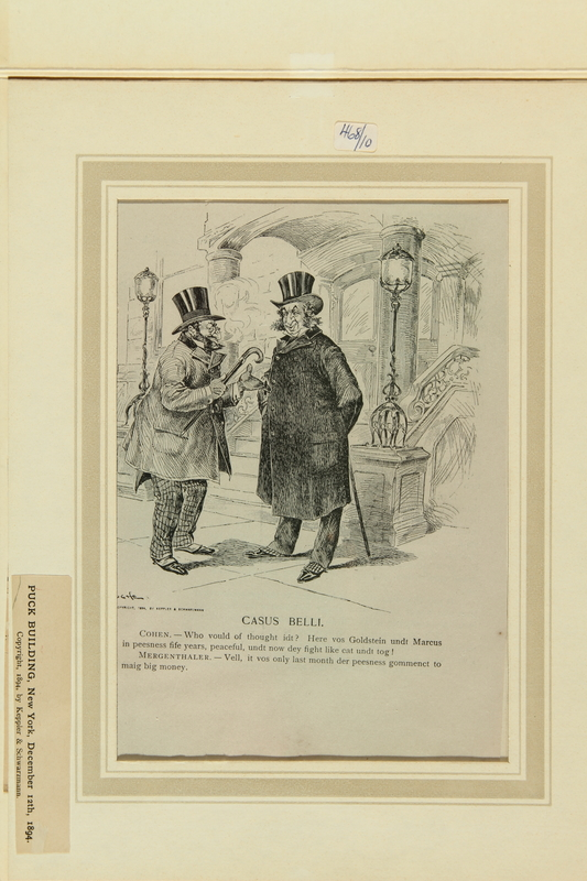 2016.184.518 front Satiric cartoon of a two Jewish tailor making a bad deal for his brother-in-law