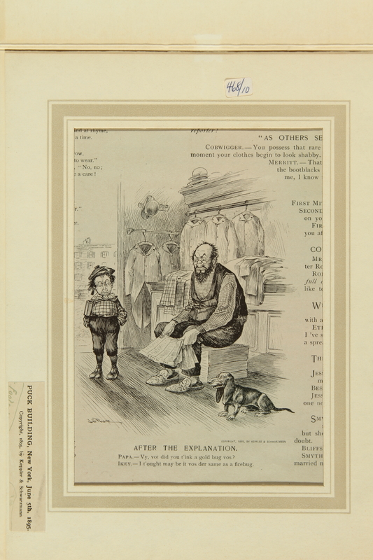 2016.184.519 front Satiric cartoon of a Jewish father and son discussing wishful thinking