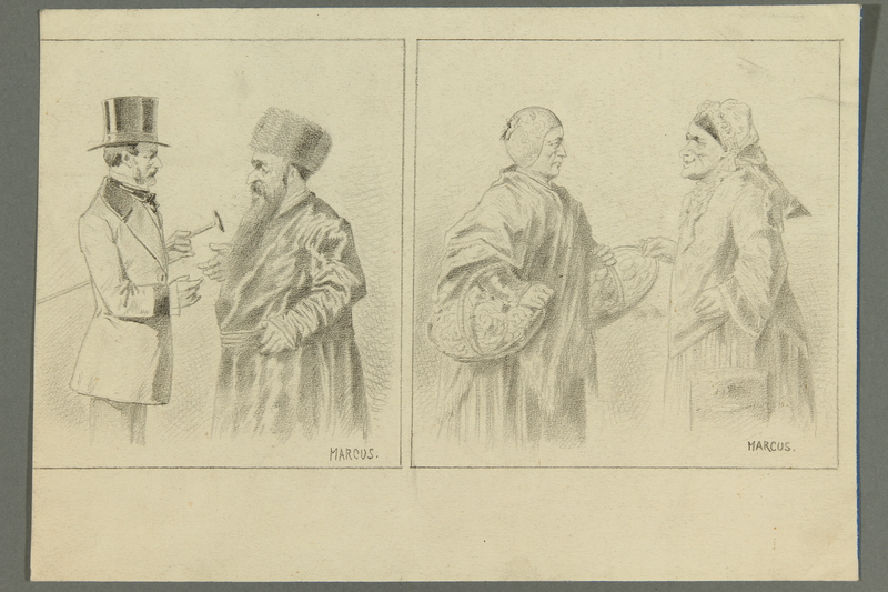 2016.184.522 front Set of portraits contrasting a Jewish and a Gentile couple