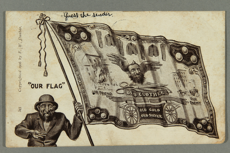2016.184.525 front Antisemitic postcard of a stereotypical Jewish man with an anti-Jewish flag