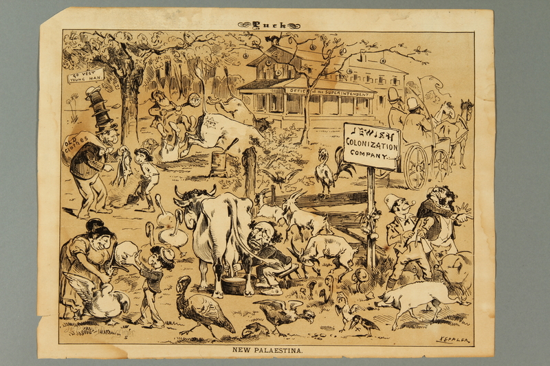 Cartoon Of Stereotyped Jewish Immigrants Working On A Farm