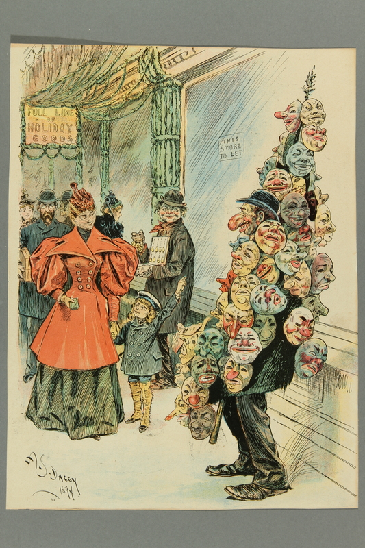 2016.184.529 front Cartoon of a Jewish peddler with an overly large nose selling false faces at Christmas