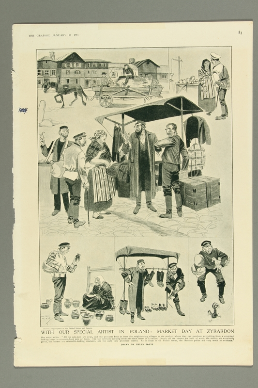 2016.184.531 front Print depicting several scenes of Jewish peddlers on market day