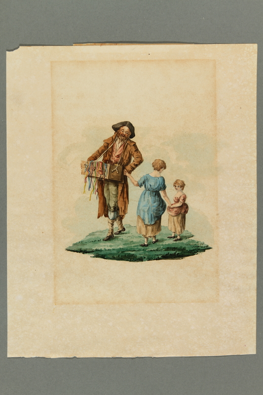 2016.184.539 front Watercolor of Jewish ribbon peddler with two non-Jewish child customers