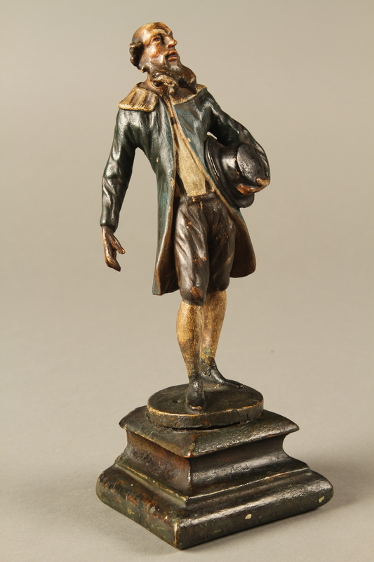 2016.184.540 3/4 view Painted wooden figure of an Austrian court Jew