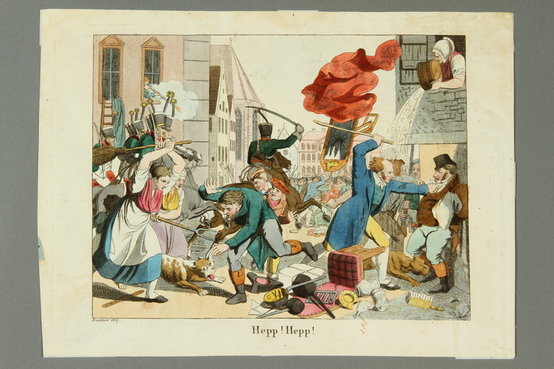 2016.184.545 front Print depiction of townspeople and soldiers attacking Jews