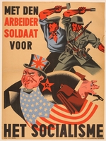 2016.184.558 front Poster of worker and German soldier chasing away the Jew controlling Allies  Click to enlarge