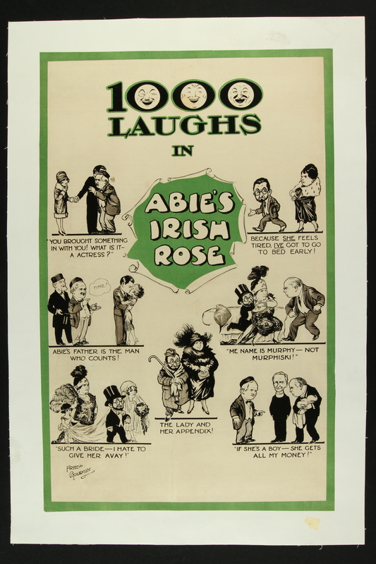 2016.184.559 front Poster with captioned cartoons for the play Abie's Irish Rose