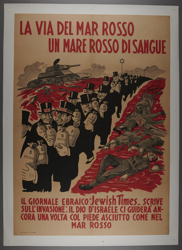 2016.184.561 front Poster of Jewish bankers walking through a parted red sea of blood