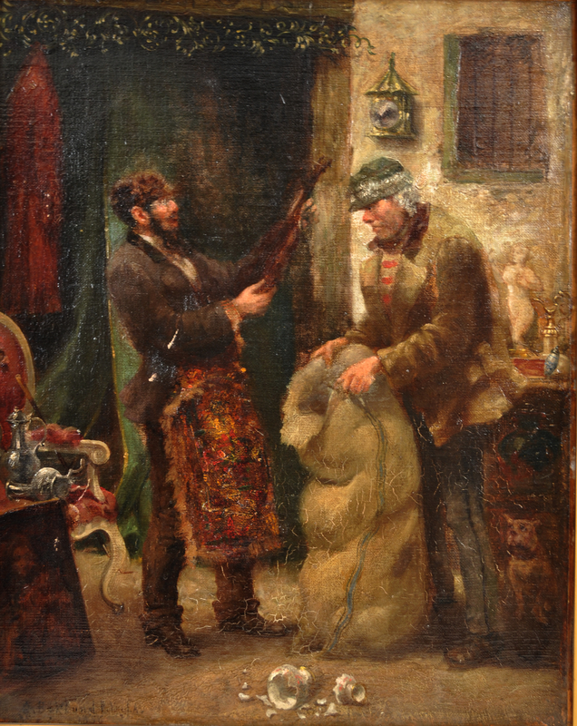 Painting of a Jewish pawnbroker and customer with a violin