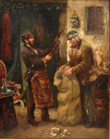 Painting of a Jewish pawnbroker and customer with a violin  Click to enlarge