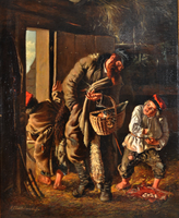 Oil painting depicting a peddler buying eggs from a boy  Click to enlarge