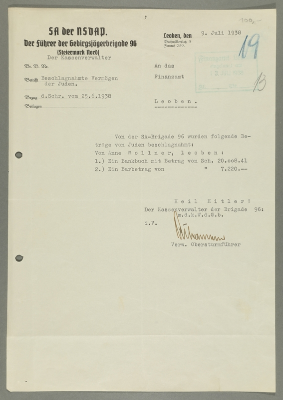 2016.184.572 front Typed Nazi SS tax memo about assets confiscated from a Jewish woman