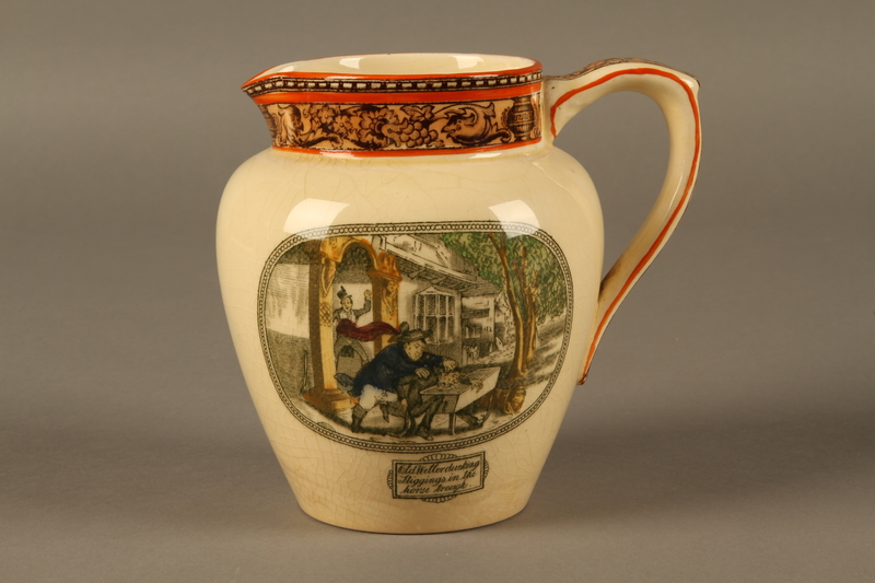 2016.184.573 front William Adams & Sons stoneware jug with a scene of Oliver Twist meeting Fagin