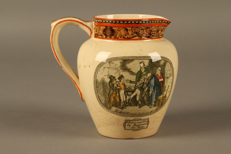 2016.184.573 back William Adams & Sons stoneware jug with a scene of Oliver Twist meeting Fagin